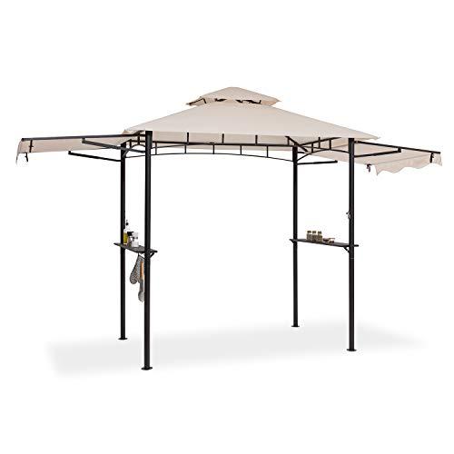 blumfeldt Steakhouse Wings - Gazebo per Barbecue, Dimensioni: 235 x 242 x 145 cm (LxAxP), Parasole/Parapioggia: Poliestere 160g Idrorepellente/Antifiamma, 2 Tettoie Laterali Apribili, Beige