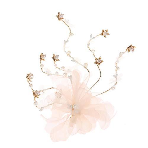 Diadema de flores de encaje con perlas sintéticas, accesorio para el pelo, color rosa