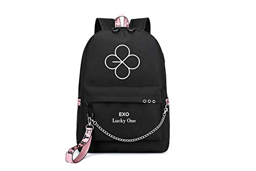 Kpop EXO Rucksack Lucky One Daypack Schultasche Geschenkwaren Laptoptasche College School Bookbag Reise Schule Canvas Bags Sehun Suho Baekhyun Chanyeol Xiumin DO Kai Chen Lay