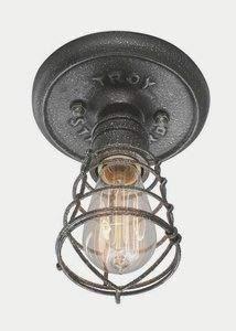 Troy Lighting C3810 Conduit - One Light Small Flush Mount, Old Silver Finish