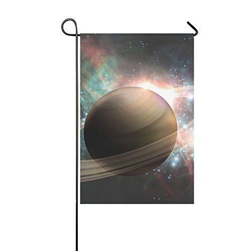 Enhusk Home Dekorative Outdoor Doppelseitige Saturn Planet Sonnensystem Sterne 3 D Garten Flagge, Haus Hof Flagge, Garten Hof Dekorationen, saisonale Willkommen Outdoor Flagge 12 X 18 Zoll Frühling