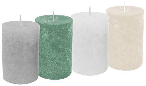 Unbekannt 4 Stumpenkerzen Kerzen Salbei Grün Grau Creme Weiß Tischdeko Hochzeit Kommunion Konfirmation Adventskranz Weihnachten