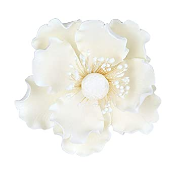O Creme Gumpaste Anemone Flower Set of 3 White - Edible Flowers for Cake Decorating - Sugar Paste Flower Decorations for Cakes Cupcake Toppers - Birthday Party Wedding Valentines Day Baby Shower