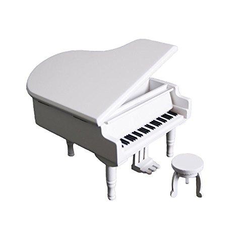 Rétro à remonter Piano Boîte à musique en bois, EN BOIS DE Simulation Cadeau Boîte à musique, DE TRANSPORT vous à partir du château dans le ciel (Laputa) Boîte à musique, Bois dense, White-Silvery, Carrying You From The Castle In The Sky(Laputa)