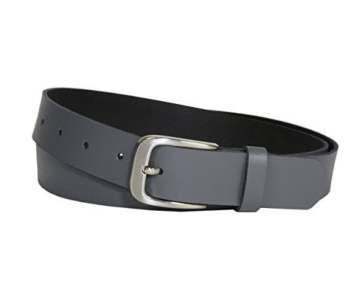 Vascavi Ledergürtel 100% echt Leder, Jeansgürtel, 3 cm breit und ca. 0.25 cm stark, Gürtel, Made in Germany, Anzugsgürtel, Hüftgürtel, (85 cm Gesamtlänge 95 cm, Grau)