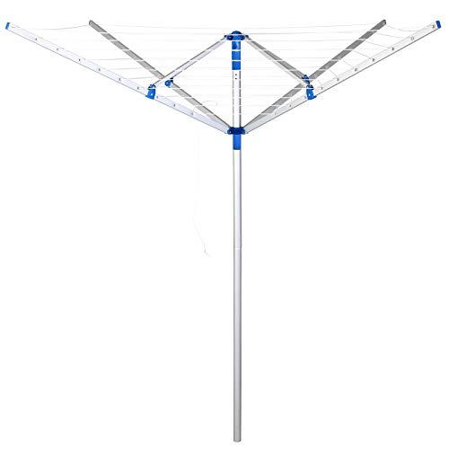Deuba Tendedero de pié Plegable con 4 Brazos con Cuerdas para Tender la Ropa Ajustable Giratorio 150 x 180 cm Resistente