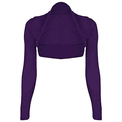 Fairy Trendz Ltd - Coprispalle da donna, a maniche lunghe, con apertura frontale Viola 40-42