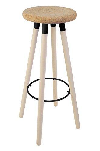 Tosel 5-karina barkruk, hout, kurk en metaal, eiken, zwart, 30 x 30 x 79 cm