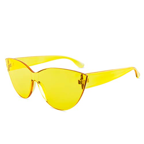Colorful One Piece Rimless Transparent Cat Eye Sunglasses for Women Tinted Candy Colored Glasses (#H3099-Yellow)
