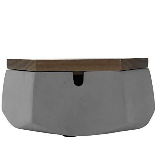 FREELOVE CUILV Concrete Cigarette Ashtray with Lid & Liner, Windproof Cement Ash Tray for Indoor or Outdoor Use, Patio, Office & Home(Grey Walnut C)