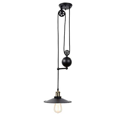 BarcelonaLED Lampada a sospensione a LED vintage industriale regolabile con retro lampadario a puleggia con elementi in metallo nero e bronzo Edison E27 per soggioro, cucina
