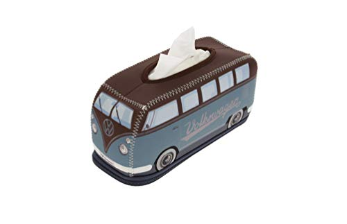 BRISA VW Collection - Volkswagen T1 Bulli Bus Retro/Vintage Neopren Kosmetik-Tuch-Spender, Taschentuch-Spender-Box, Tissue-Box (Petrol/Braun)