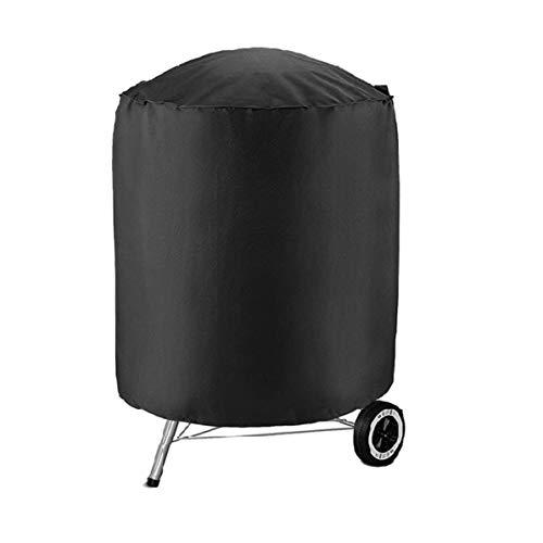 Monllack Cubierta a Prueba de Polvo, Cubierta Redonda Negra para Parrilla de Barbacoa, Hoguera, Cubierta Impermeable a Prueba de Polvo para jardín, terraza, práctica