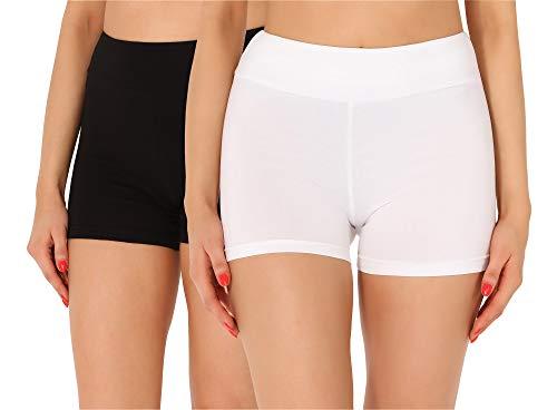 Merry Style Pantalones Cortos Mujer 2Pack MS10-359(2Pack Negro/Burdeos,XXL)