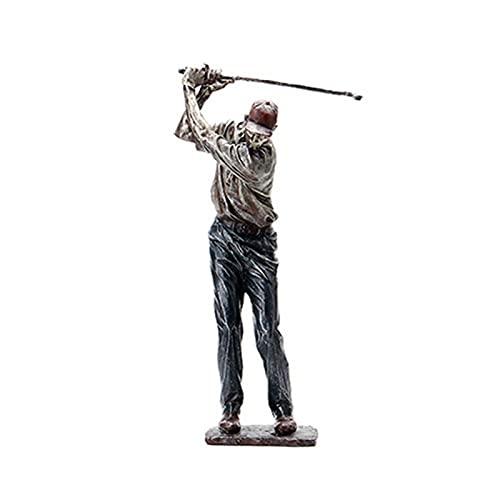 Taowan Figura de golfista Swinging A Golf Club Vintage Estatua Decoración Decorativa Resina Ornamento para el Hogar Estante Oficina 38 cm de Altura