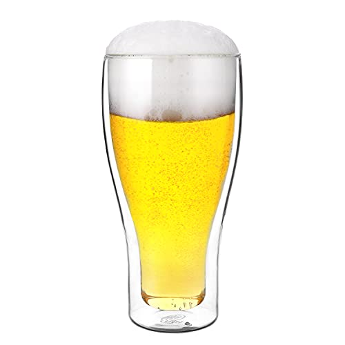 CNGLASS Double Wall Pilsner Beer Glass 17oz,Insulated Upside Down Glass Beer Cup,Clear Beer Chilling Drinkware