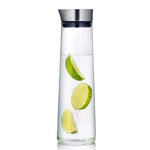 QAX Jarra Agua Cristal con Tapa,Botella de Vidrio Estilo Moderno,para Jugo Caliente Frío Té Leche y Café,1000ML