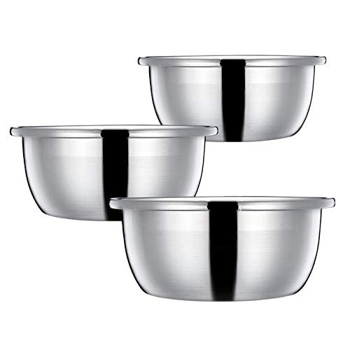 Eurobuy Stainless Steel Mixing Bowl Easy to Rice Washing Bowl for Stroage Salad Baking Kitchen Accessory, 3pcs