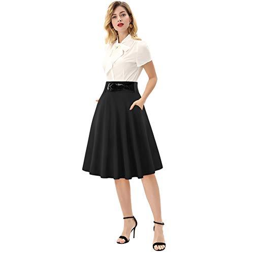 Femme Jupe Ete Mi Longue Taille Haute Jupe Plissee Evasee Pin Up Noir S BPE63-1