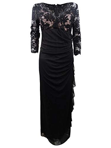 B&A by Betsy and Adam Womens Ruffled Lace Formal Dress Black 8