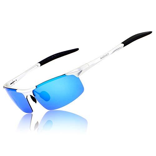 ANDOILT Herren Sportbrille Polarisierte Sonnenbrille Al-Mg Metallrahme Ultra leicht Fahrerbrille Silber Rahmen Blau Linse