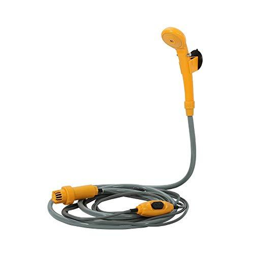 AYNEFY Ducha portátil de 12 V para exteriores, ducha portátil con bomba sumergible para exteriores, jardín, viajes, lavado de coche, manguera de 2 m, cable de alimentación de 5 m