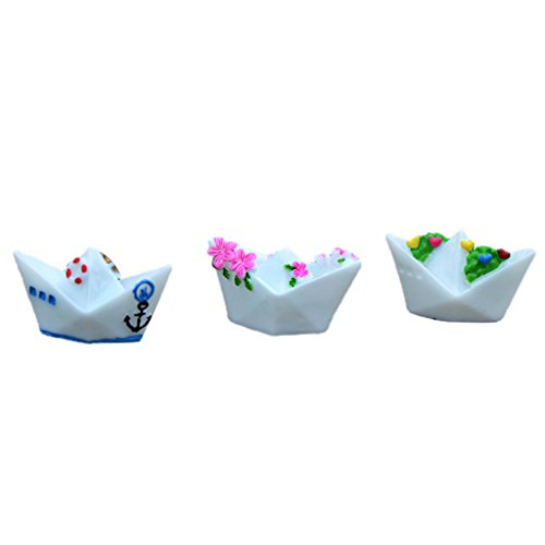 MagiDeal 3Pieces Micro Paisaje Resina Bonsai Fairy Garden Decor DIY Craft Barco De Papel