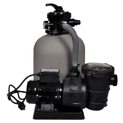 GOTOTOP Bomba con filtro de arena para piscinas de 600 W, 17000 l/h, funda de plástico reforzado, sistema de filtración de arena para piscinas y bañeras