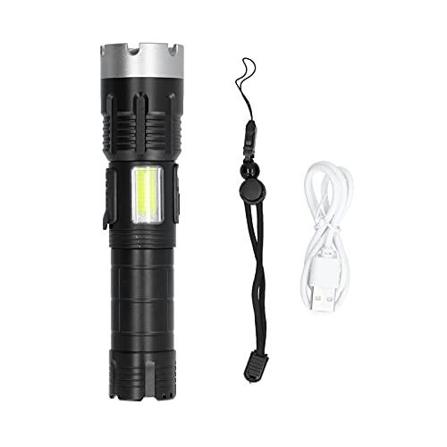 Linterna LED, linterna de luz lateral Carga USB Super brillante con cuenta de lámpara P70 para exteriores para senderismo para acampar