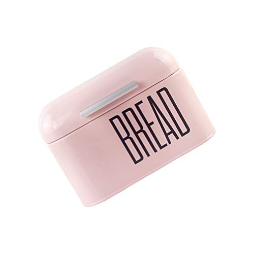 HEMOTON Iron Bread Box Metal Storage Tin Canister Bread Bin Kitchen Storage Containers Snack Sundried Jewelry Mouth Cover Case Holder for Home Cookie Small Items Storage Pink
