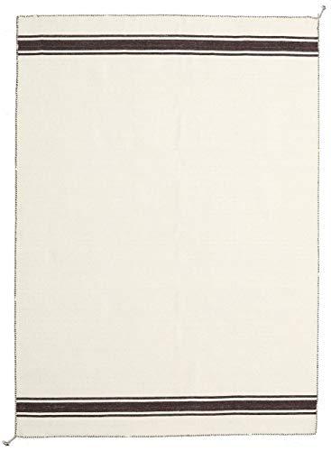 RugVista, Ernst, Fatto a mano, Tappeto, Tappeto moderno Kelim, Pelo alto, 170 x 240 cm, Rettangolare, CARE & FAIR, Lana, Corridoio, camera da letto, cucina, soggiorno, Off_White / Marrone