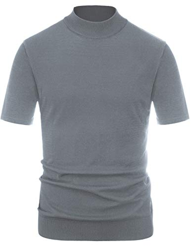 PJ PAUL JONES Men's Turtleneck Short Sleeve Sweater Lightweight Mockneck Pullover Grey, XL
