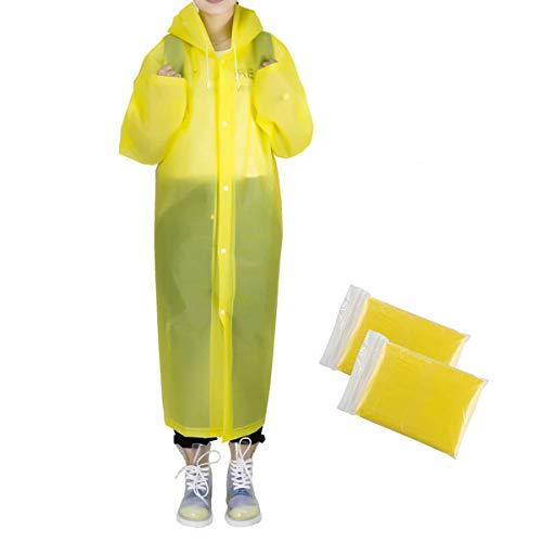Reusable Adult Portable Raincoat Rain Poncho with Hoods and Sleeves (Yellow)