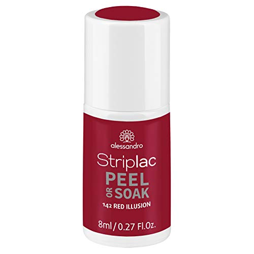 alessandro Striplac Peel or Soak Red Illusion - LED-Nagellack in sattem Rot - Für perfekte Nägel in 15 Minuten, 8 ml