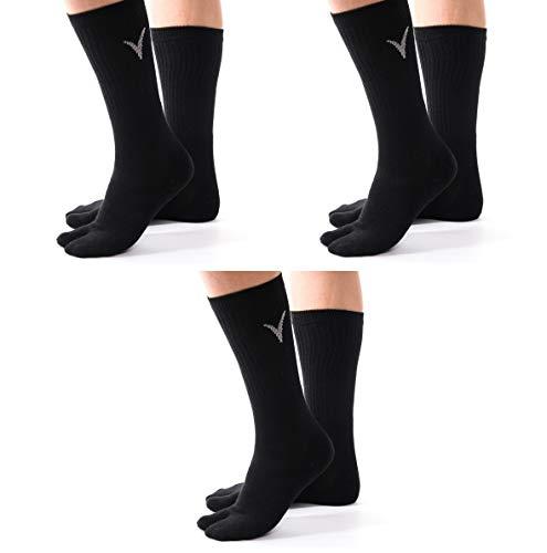 V-Toe Athletic Flip Flop Socks - 3 Pairs Tabi Black Solid Big Toe Sports or Casual Big Toe Mens or Womens