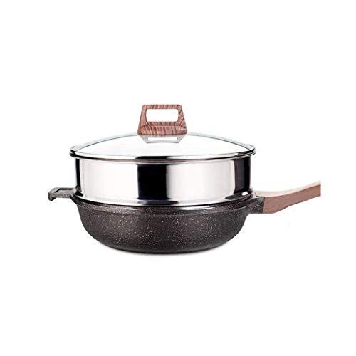 XYSQWZ Maifan Stone Steamer Antiadherente Wok SartéN SartéN Hogar Cocina De InduccióN Sin Aceite Estufa De Gas (TamañO: 28Cm)