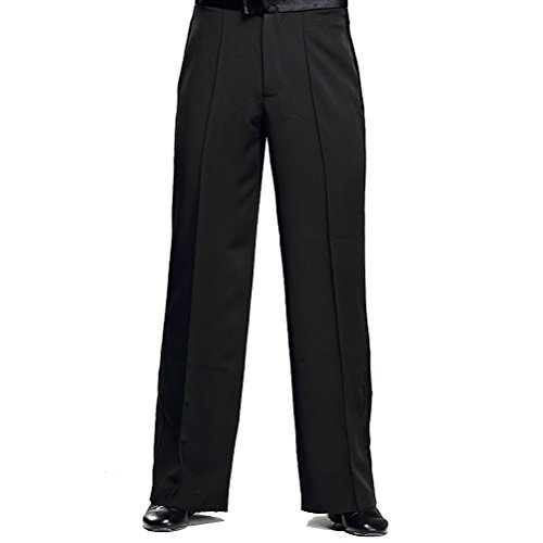 YILINFEIER Men Professional Sideband Elastic Band Wide Latin Modern Square Practice Dance Pants (33) Black
