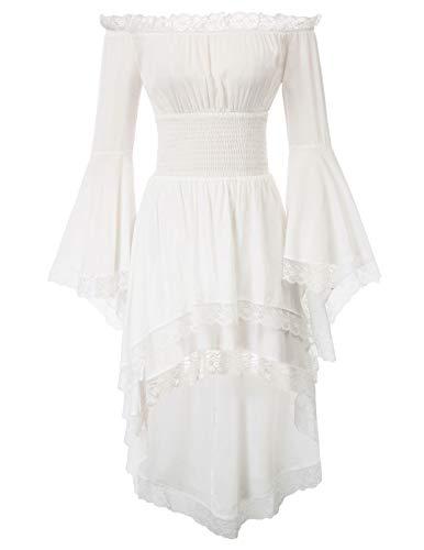 KANCY KOLE Damen viktorianischen gotischen Halloween Kostüm Off Shoulder Swing Kleid Elfenbein , Weiß Elfenbein, M