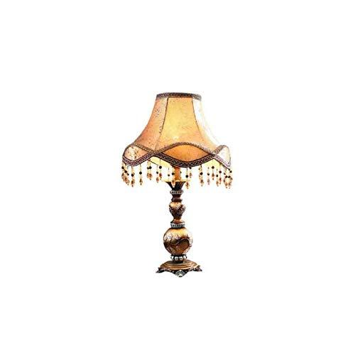 JYDQM Pantalla de Tela de Encaje Cuerpo de Resina Natural Lámpara de Escritorio Decorativa Tradicional para Dormitorio Sala de Estar Iluminación Decoración Antigua