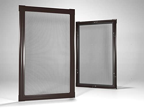 Home-Vision® Insektenschutz Fliegengitter Fenster Alu Rahmen Mückengitter Fliegenschutz in Weiß, Braun oder Dunkelblau als Selbstbausatz (Braun, B80cm x H100cm)