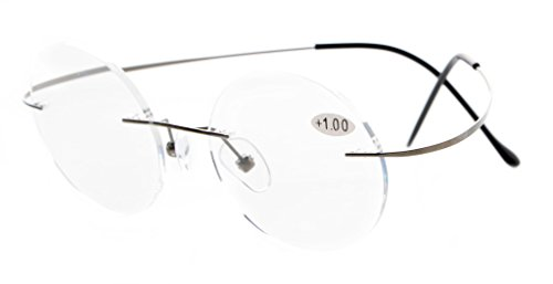 Eyekepper, occhiali da lettura per uomo e donna, senza montatura, in titanio