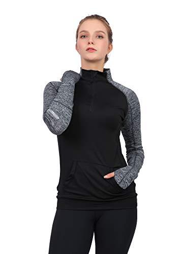 Westkun Damen 1/2 Reißverschluss Laufshirt Langarm Sportshirt Shnelltrocknendes Funktionsshirt Workout Gym Yoga Fitness Sportoberteile Laufjacke(Schwarz,XL)
