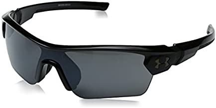 Under Armour Kid's Menace Wrap Sunglasses, Black / Gray Lens, 58 mm