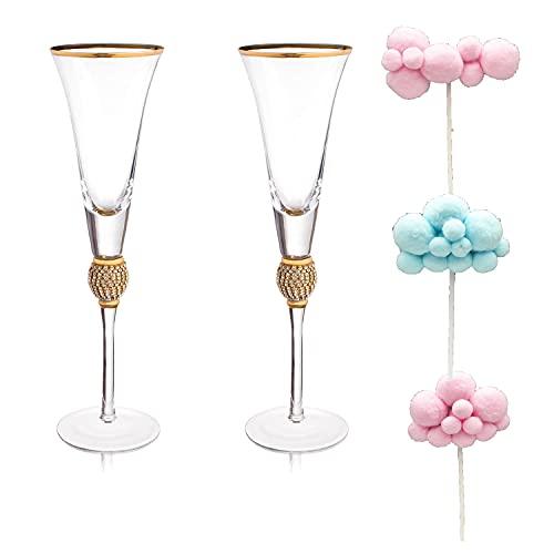 LXDZYPQJ Juego de copas de champán para bodas de 7.4 oz, 2 copas de champán de cristal, cristalería elegante y hermosa. Se utiliza para brindar en bodas, aniversarios y cumpleaños. (A)