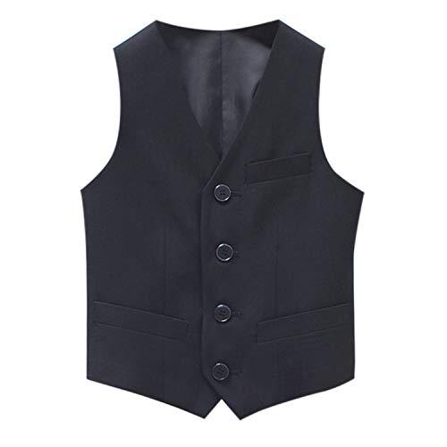 De feuilles Vest Suit sans Manches Bébé Garçon Gilet Manteau avec Bouton Casual Doux Noir 9-10 Ans (Tour de Poitrine 80 cm)