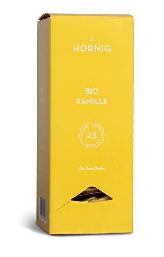 J. Hornig Bio Kamillentee, Tee im biologisch abbaubaren Pyramidenbeutel, 25 Tee-Sachets, Tee Kamille aus biologischem Anbau