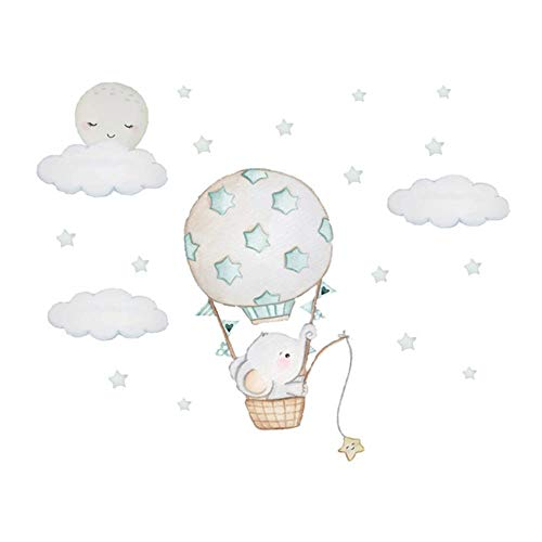 Baby Elephant Wall Stickers for Kids Room Baby Nursery Room Decoration Air Balloon Wall Decals Cloud Moon Stars PVC,As The Picture