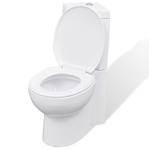 vidaXL Stand Toilette Ecke Bodenstehend Keramik Soft Close Sitz Spülkasten WC
