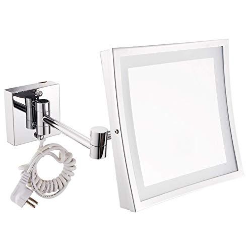 WANGXIAOLINJINGZI Espejo de Maquillaje LED de Pared, Espejo de baño, Lupa 3X Plegable de Acero Inoxidable, Espejo de Afeitado, Cuadrado, Plata