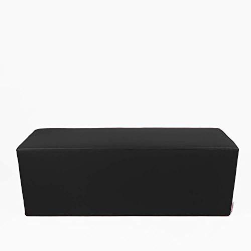 Arketicom Horizon Pouf Long ou Banquette Repose-Pieds en Faux Cuir et Polyurethane Mousse Dur HD Haute densite (PUF Puff pouffe Seance) Mesure 42H x 42L x 84L cm Couleur Noir